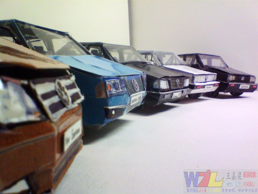 纯手工制作纸质桑塔纳汽车模型