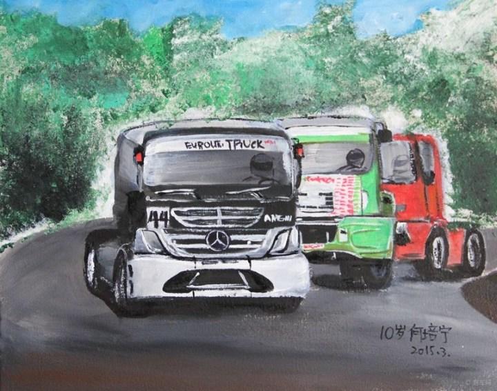 手绘汽车--我画的一组超级大卡车