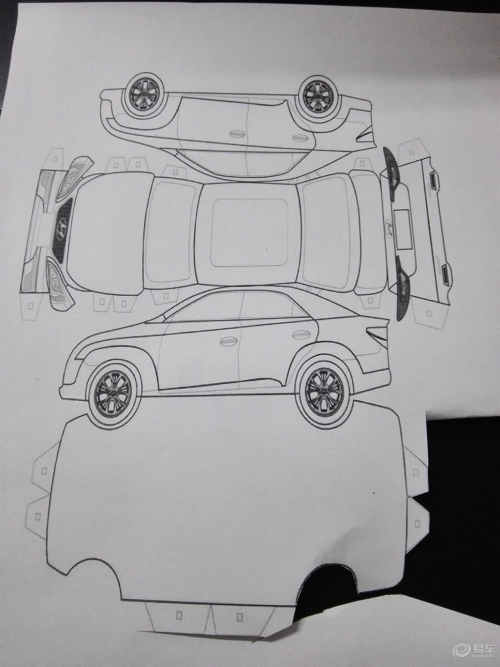 第九代索纳塔 3d立体折纸 画汽车 乐乐简笔画 画汽车 乐乐简笔画