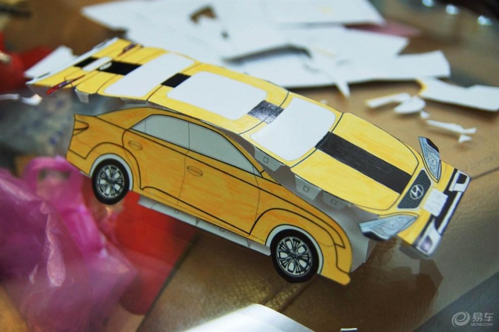 【【折纸车模】一家三口齐上阵制作纸车模】_画汽车