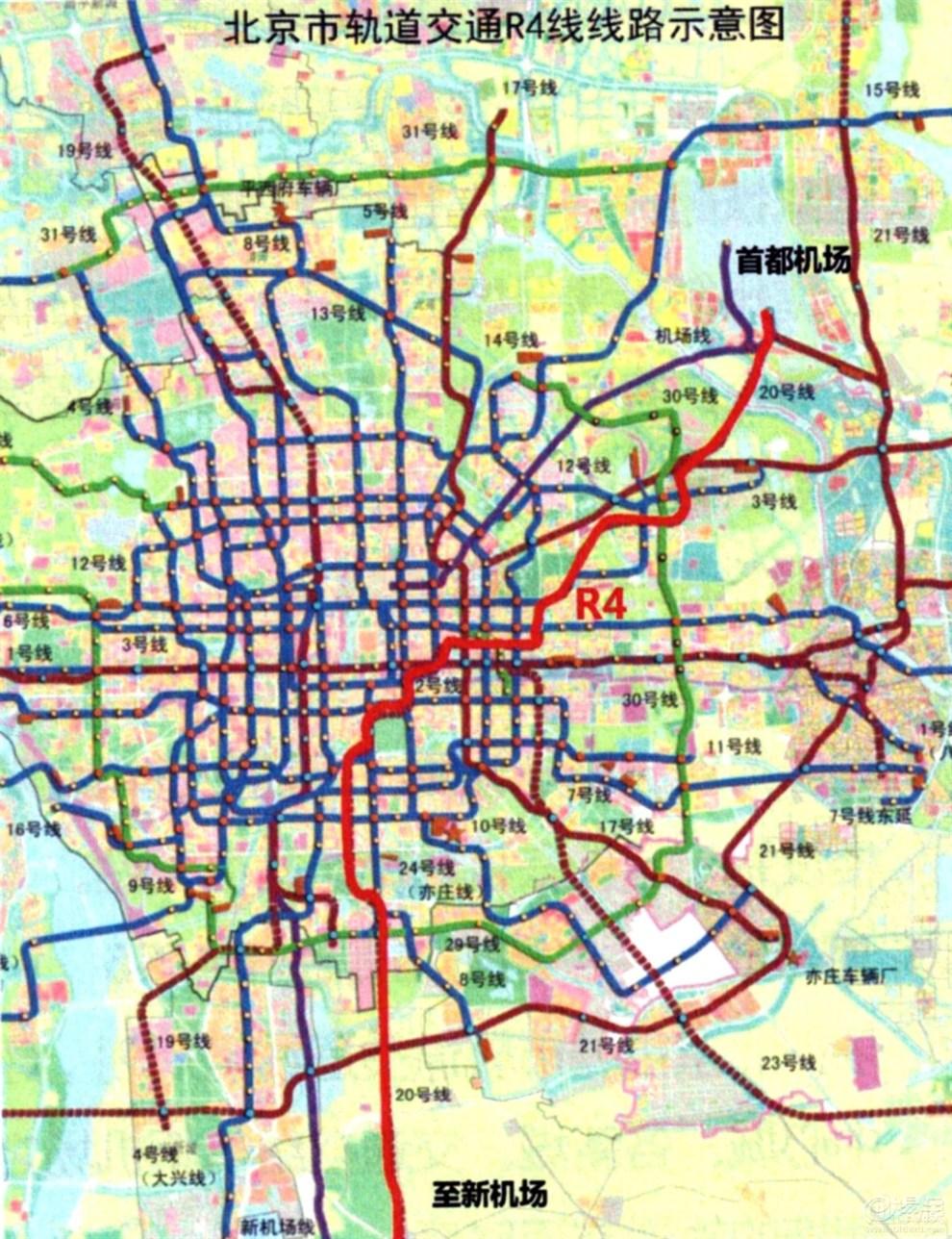 提取出来的北京地铁2030线网规划底图大图