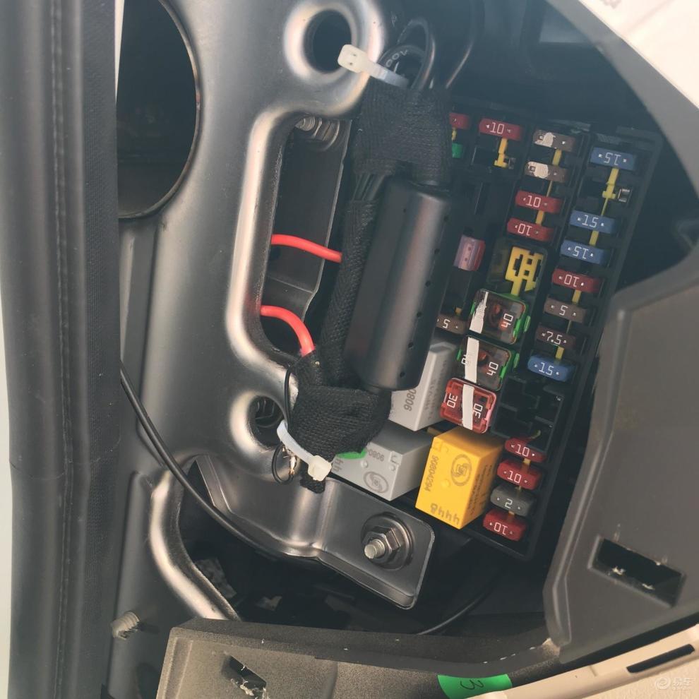 2015款新英朗行车记录仪保险盒取电走暗线