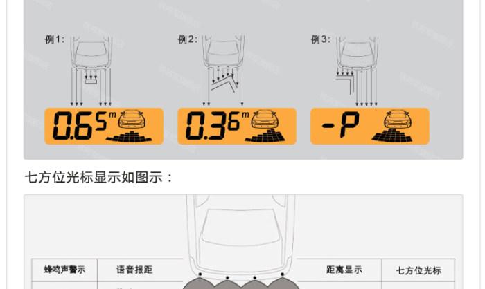 3612铁将军汽车倒车雷达4探头真人语音双七段雷达系统